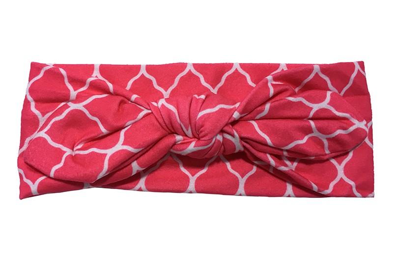 Leuk fuchsia roze peuter, meisjes haarbandje met wit lijntjespatroon.  Van zachte rekbare stof. Geknoopt in vrolijk