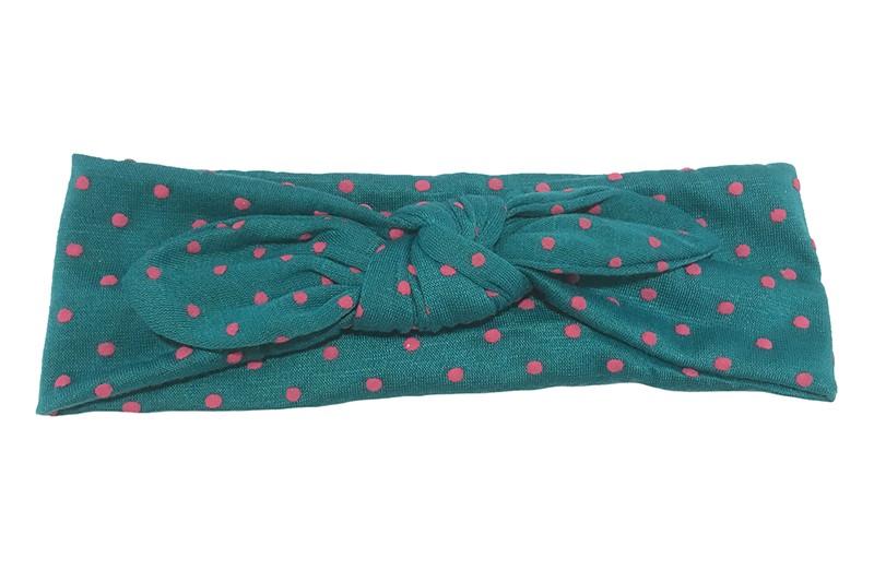 Leuk donker groen peuter, meisjes haarbandje met roze stippels.  Van zachte rekbare stof. Geknoopt in vrolijk
