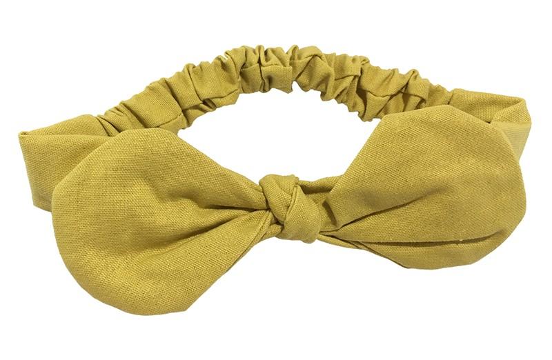 Vrolijk mosterd geel stoffen peuter haarbandje met grote strik. De strik is ongeveer 16 centimeter breed.