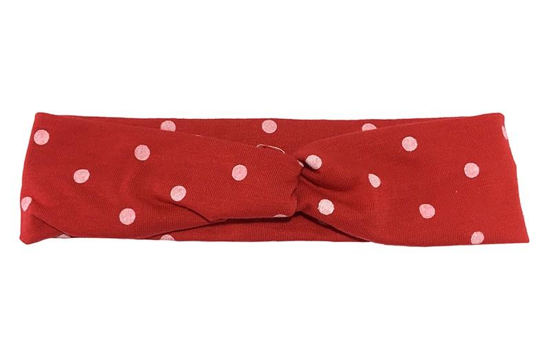 Leuk (budget) rood stoffen baby, peuter haarbandje in twist model met roze/witte stippen.  Van dunne rekbare stof, geschikt tot ongeveer 2 jaar. rn