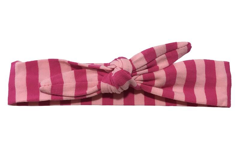 Vrolijk stoffen baby, peuter, kleuter haarbandje lichtroze en fuchsia roze gestreept.  Het haarbandje is van zachte rekbare stof en makkelijk zelf te knopen. Zo kun je lang plezier hebben van dit leuke haarbandje.