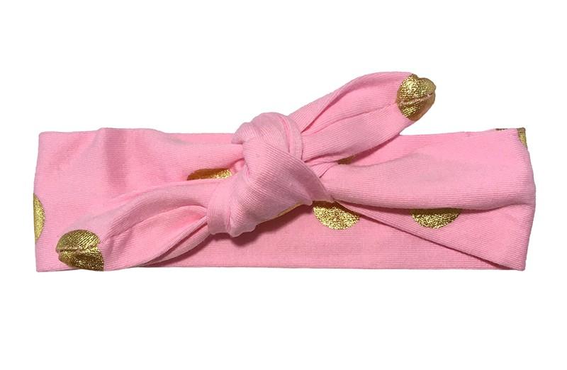 Leuk roze meisjes haarbandje (baby, peuter, kleuter) met glanzend gouden stippen.  Dit haarbandje is van zachte rekbare stof en makkelijk zelf te knopen. Daardoor kun je lang plezier hebben van dit leuke haarbandje.