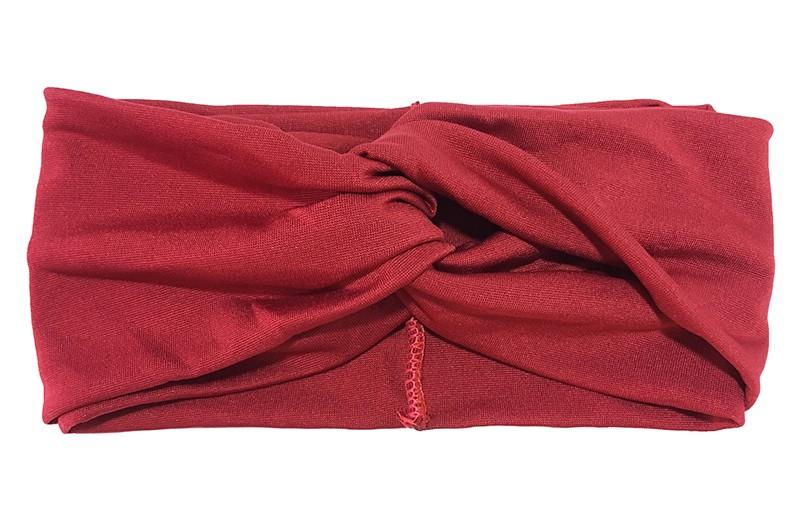Hippe wijn rode stoffen twist haarband.  Het haarbandje is van gladde goed rekbare stof, geschikt voor grotere meisjes en dames.