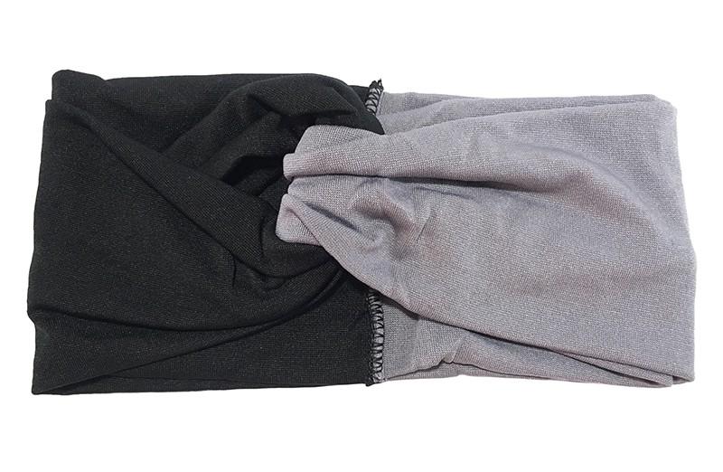 Hip zwart grijs stoffen twist haarbandje.  Het haarbandje is van gladde goed rekbare stof, geschikt voor grotere meisjes en dames.