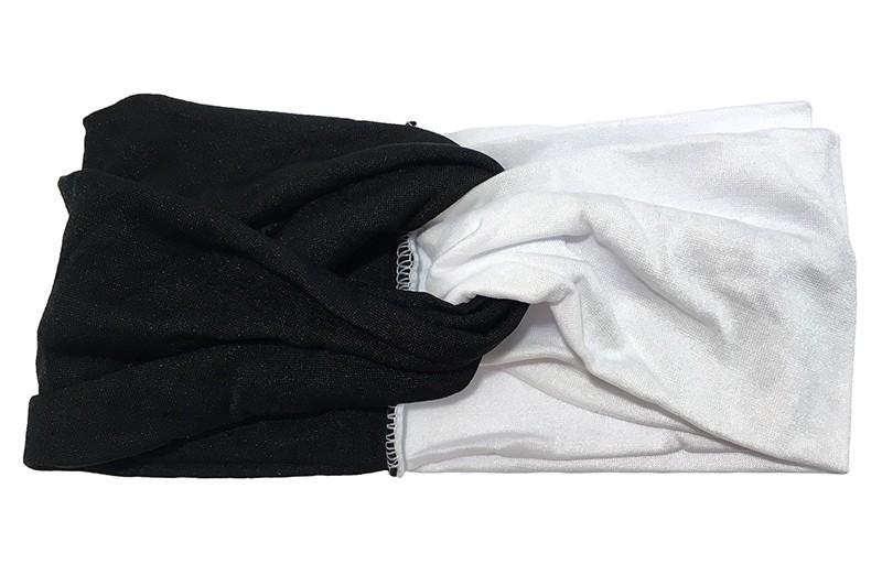 Hip zwart wit stoffen twist haarbandje.  Het haarbandje is van gladde goed rekbare stof, geschikt voor grotere meisjes en dames.