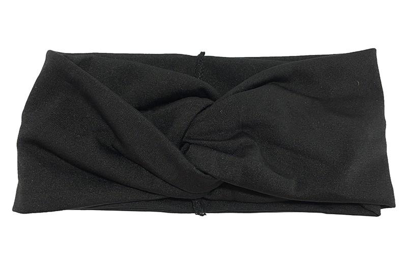 Hip zwart effen twist haarbandje.  Het haarbandje is van gladde goed rekbare stof, geschikt voor grotere meisjes, tieners en dames