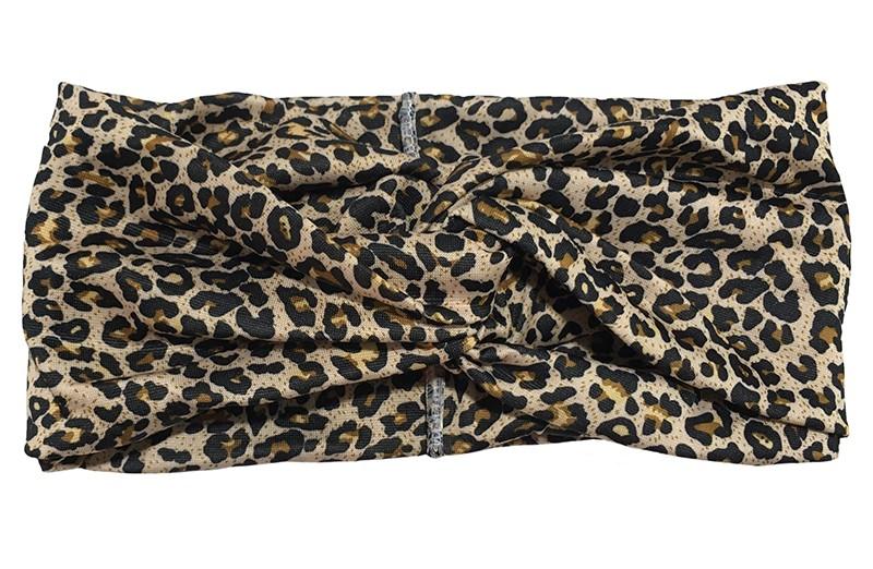 Hip twist haarbandje met bruin zwart panterprintje.  Het haarbandje is van gladde goed rekbare stof, geschikt voor grotere meisjes en dames.