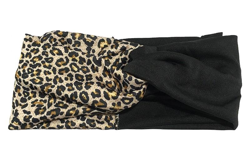 Hip bruin zwart twist haarbandje met tijgerprintje.  Het haarbandje is van gladde goed rekbare stof, geschikt voor grotere meisjes en dames.