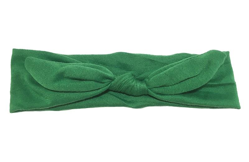 Lief effen donkergroen baby peuter haarbandje van zachte rekbare stof. In een leuk modelletje geknoopt.  Het haarbandje is ongeveer 5 centimeter breed