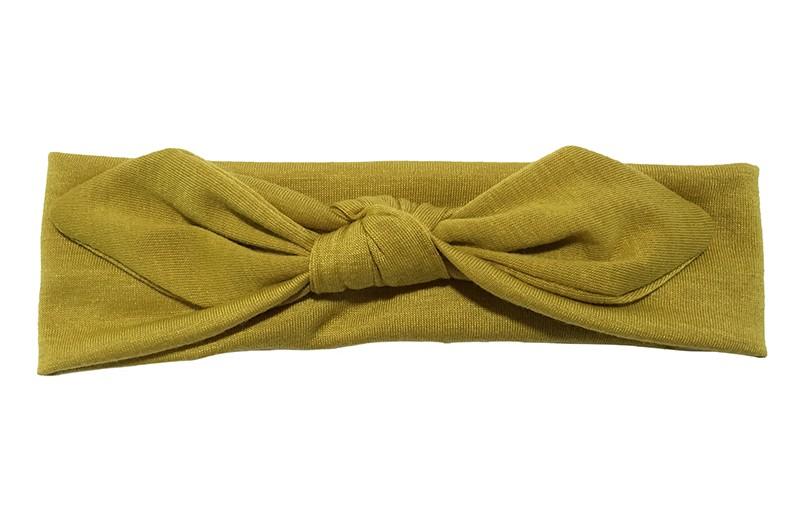 Lief effen donker (oker) geel baby peuter haarbandje van zachte rekbare stof. In een leuk modelletje geknoopt.  Het haarbandje is ongeveer 5 centimeter breed.