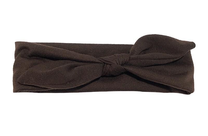 Leuk effen, donker bruin, baby peuter haarbandje van zachte rekbare stof. In een leuk modelletje geknoopt.  Het haarbandje is ongeveer 5 centimeter breed.