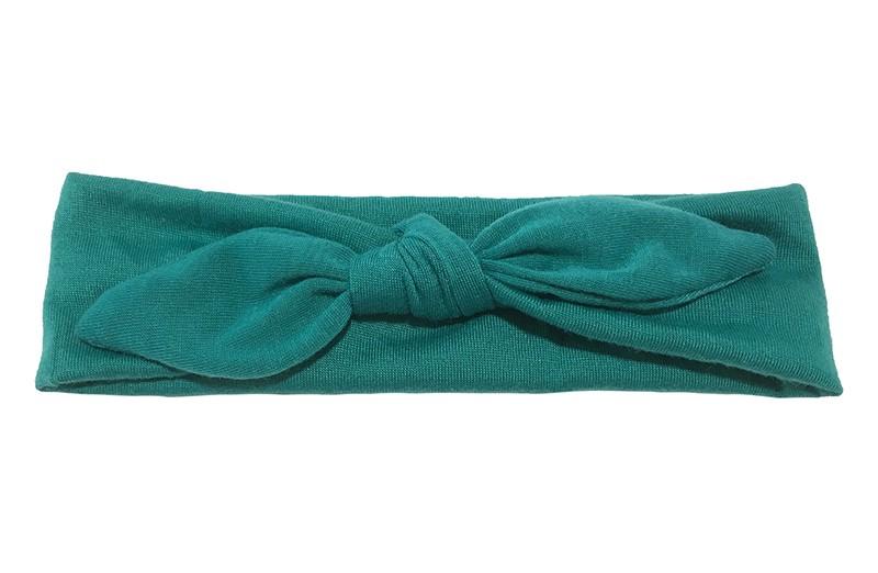 Lief effen groen baby peuter haarbandje van zachte rekbare stof. In een leuk modelletje geknoopt.  Het haarbandje is ongeveer 5 centimeter breed.
