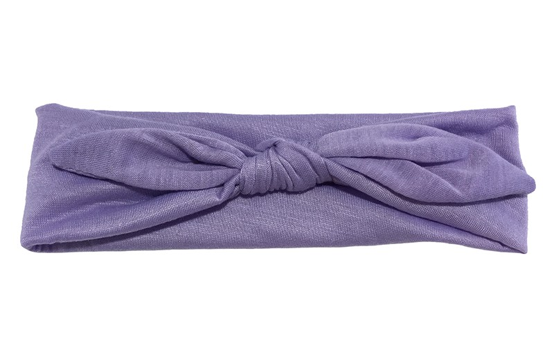 Lief effen lila paars baby peuter haarbandje van zachte rekbare stof. In een leuk modelletje geknoopt.  Het haarbandje is ongeveer 5 centimeter breed.