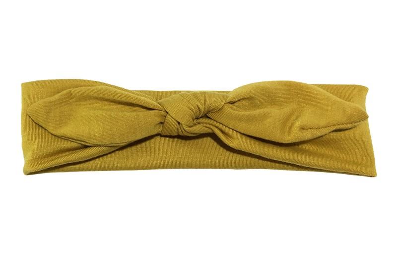 Lief effen mosterd geel baby peuter haarbandje van zachte rekbare stof. In een leuk modelletje geknoopt.  Het haarbandje is ongeveer 5 centimeter breed.