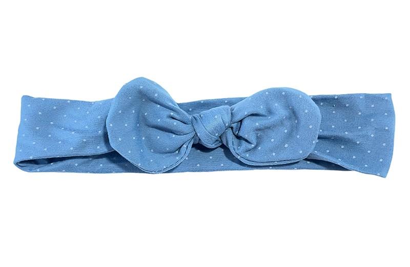 Vrolijk lichtblauw zacht stoffen peuter kleuter en meiden haarbandje. Met kleine licht gekleurde stipjes.  Het haarbandje is van goed rekbare zachte stof.  Geschikt tot en met ongeveer 10 jaar.