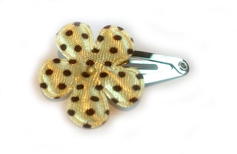 Leuk baby haarspeldje mini met creme kleurig bloemetje met bruine stippen.