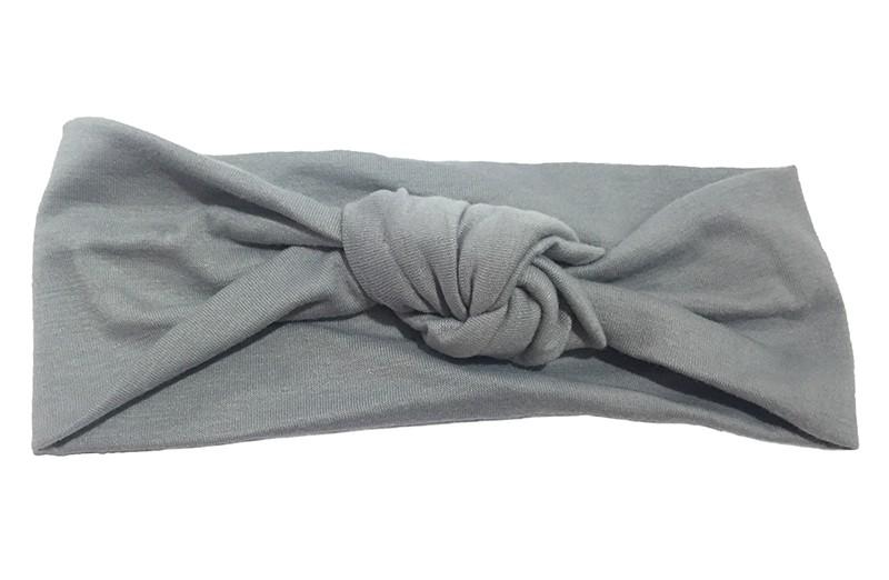 Leuk grijs geknoopt baby peuter meisjes haarbandje van zachte glanzende stof.