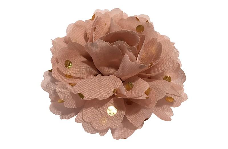 Vrolijke grote oud roze haarbloem van chiffon met gouden stipjes.  Op een handig knipje met kleine tandjes van ongeveer 5 centimeter. Half bekleed met licht roze lint.