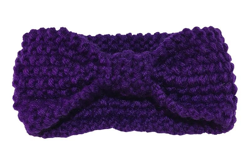 Leuke paarse baby peuter, haarband. Deze gebreide haarband is ongeveer 8 centimeter breed. Lekker warm in de winter voor de kleine meisjes.