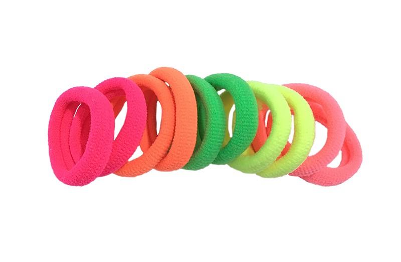 Leuk setje van 10 felgekleurde zachte haar elastiekjes