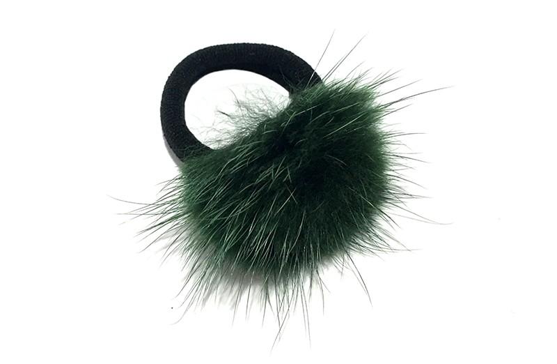 Schattig zwart haarelastiekje met een fluffie groen  bolletje.