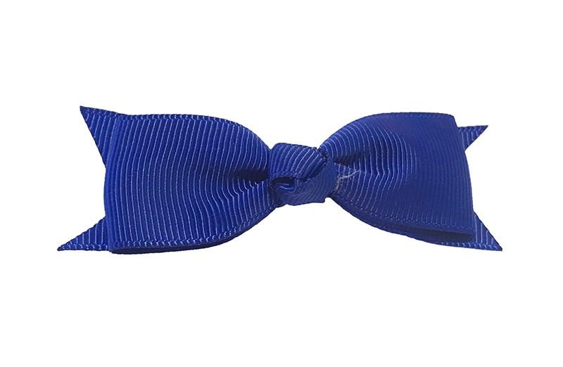 Mooi haarstrikje van donkerblauw lint op een handig alligatorknipje. Leuk voor kleine meisjes en grotere meisjes.