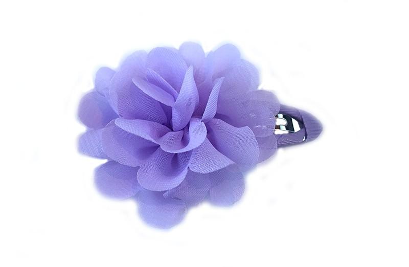 leuke haarspeld met lila lint bekleed met daarop een lila chiffon bloem.
