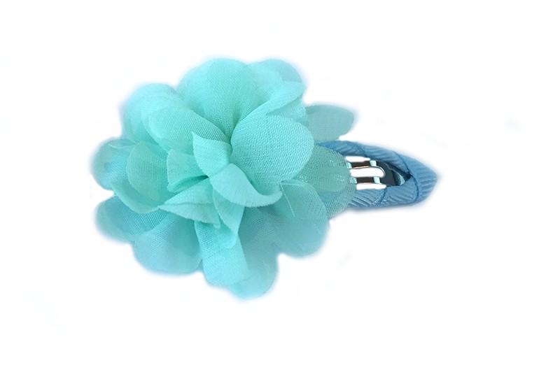 Leuke haarspeld met mintgroen lint bekleed met daarop mint kleurige chiffon bloem.