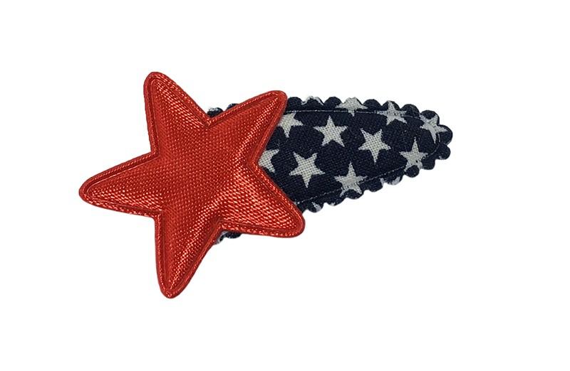 Leuk donkerblauw baby peuter haarspeldje met witte sterretjes. Met daarop een rood sterretje.