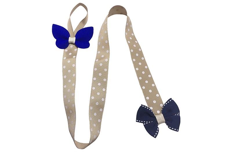 Vrolijk en handig bewaarlint voor de haarspeldjes.  En ook nog is een leuke accesoire voor aan de muur, kast enz..  Het zandkleurige lint heeft vrolijke witte stippen en aan de bovenkant een handig ophanglusje.  Versierd met bovenaan een vrolijke kobaltblauwe vlinder en onderaan een leuke donkerblauwe strik.