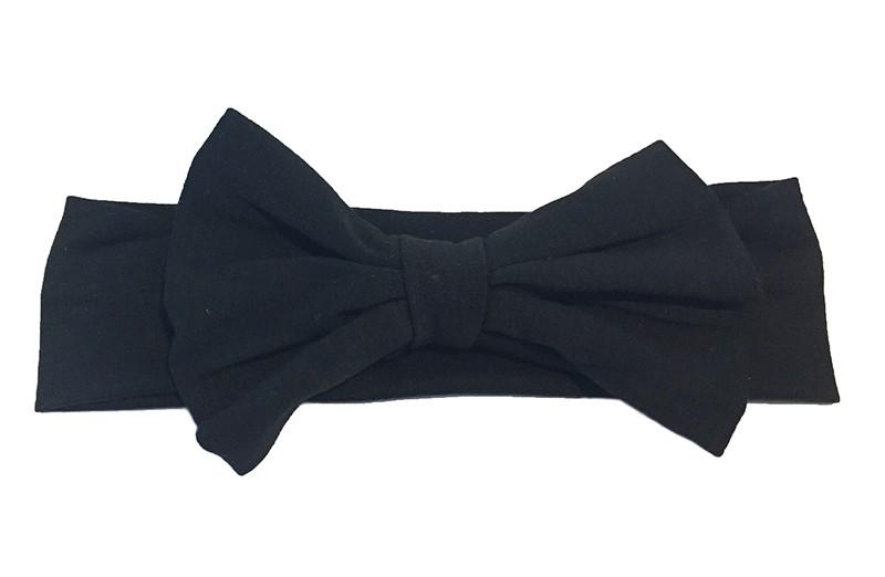 Schattige zwarte baby peuter haarband van rekbare stof met een grote stoffen strik.